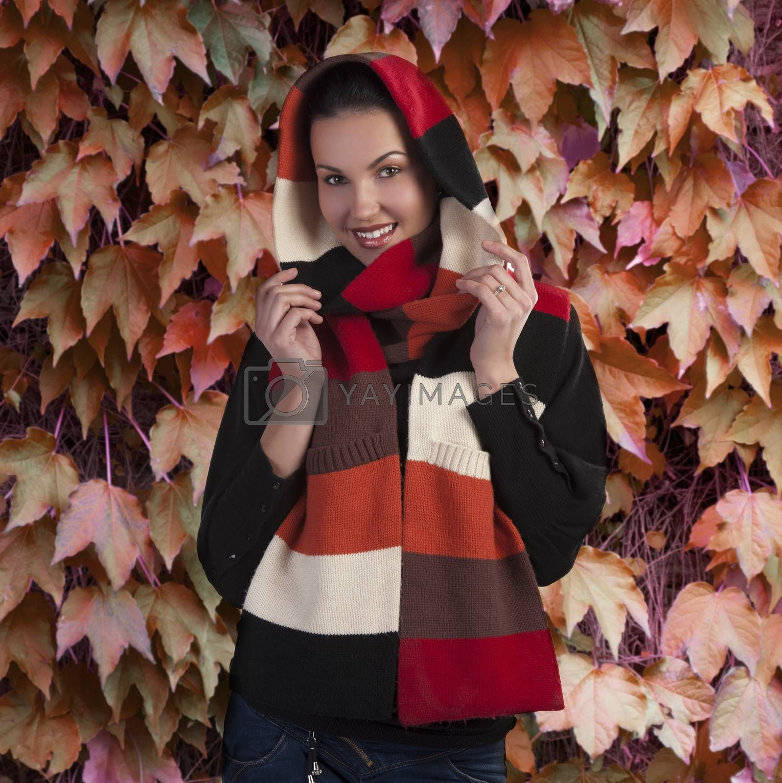 smiling brunette in autumn scarf by fotoCD