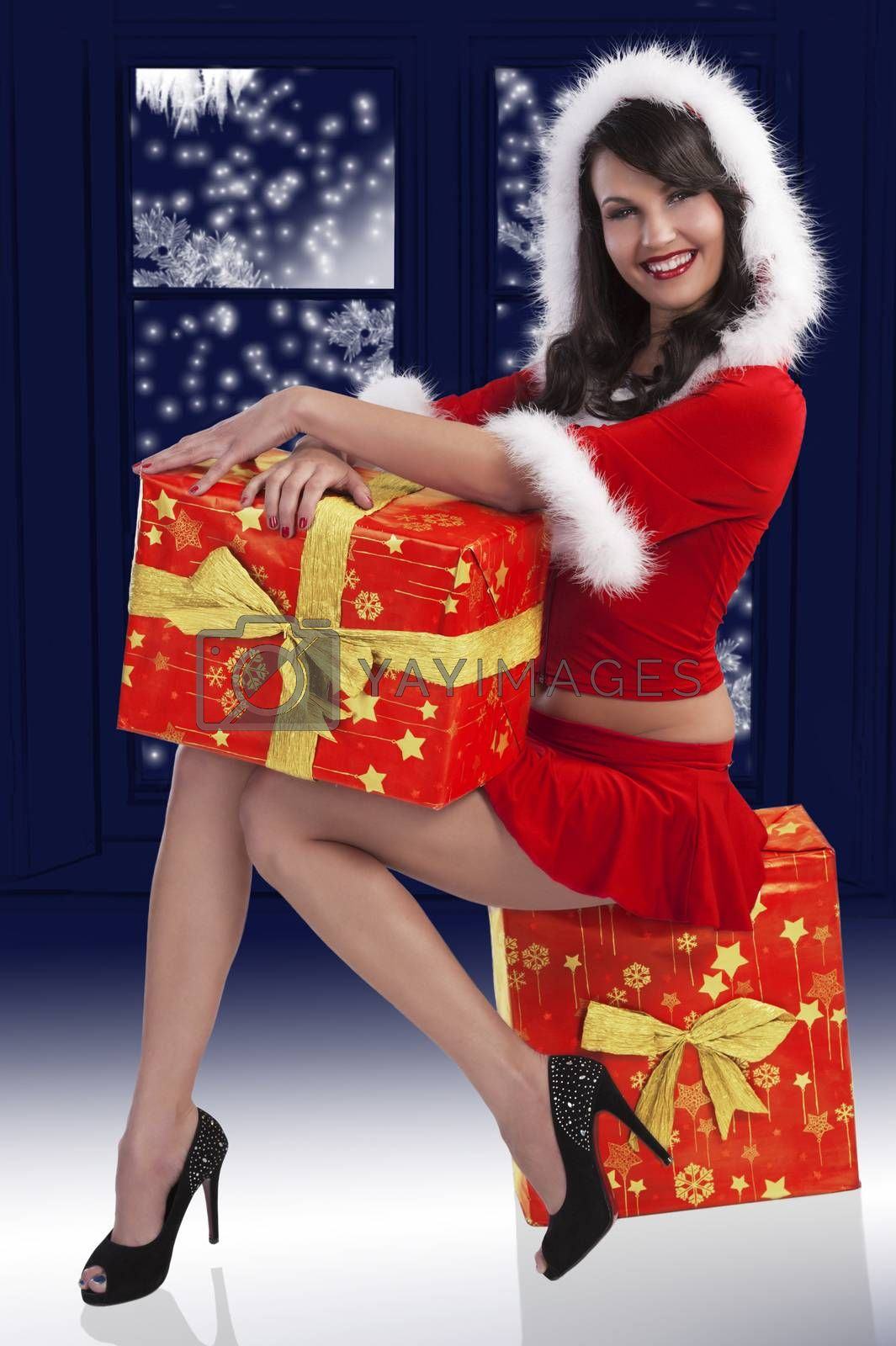 Royalty free image of santa claus brunette with presents by fotoCD