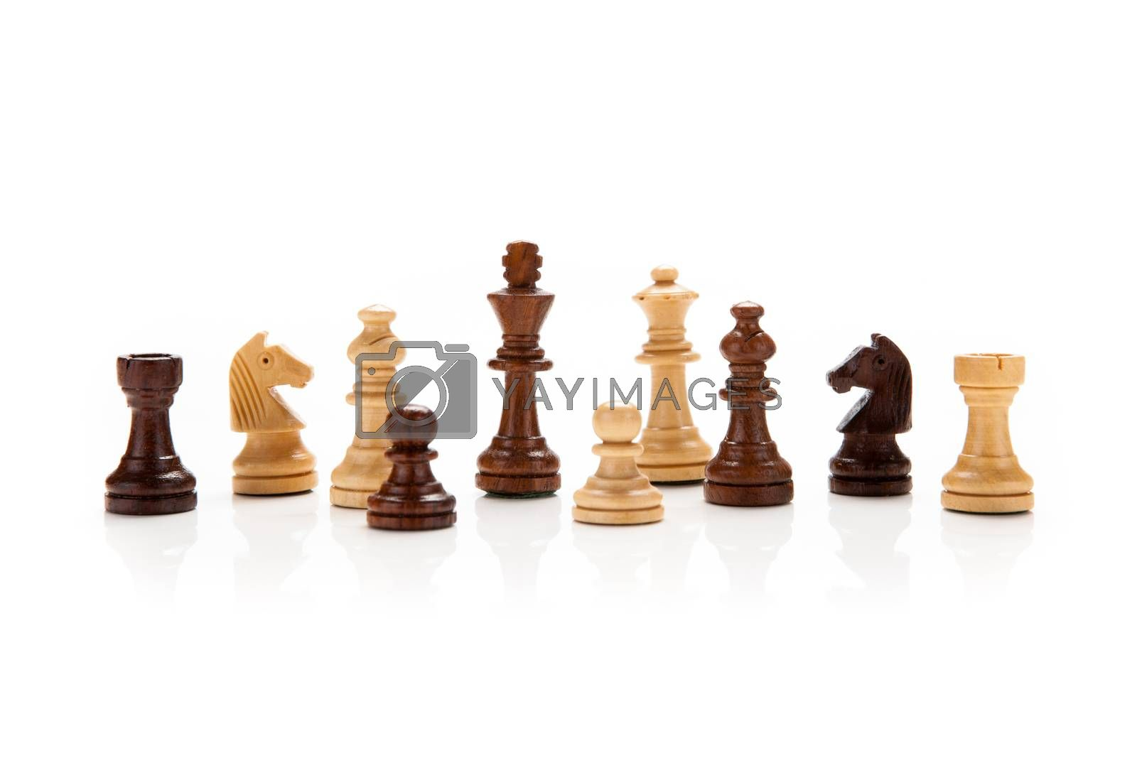 chess pieces on a white by mizar_21984
