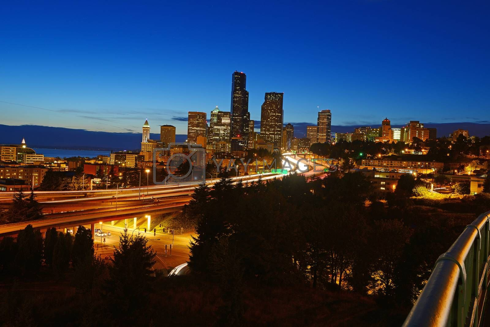 Royalty free image of seattle and highway by porbital