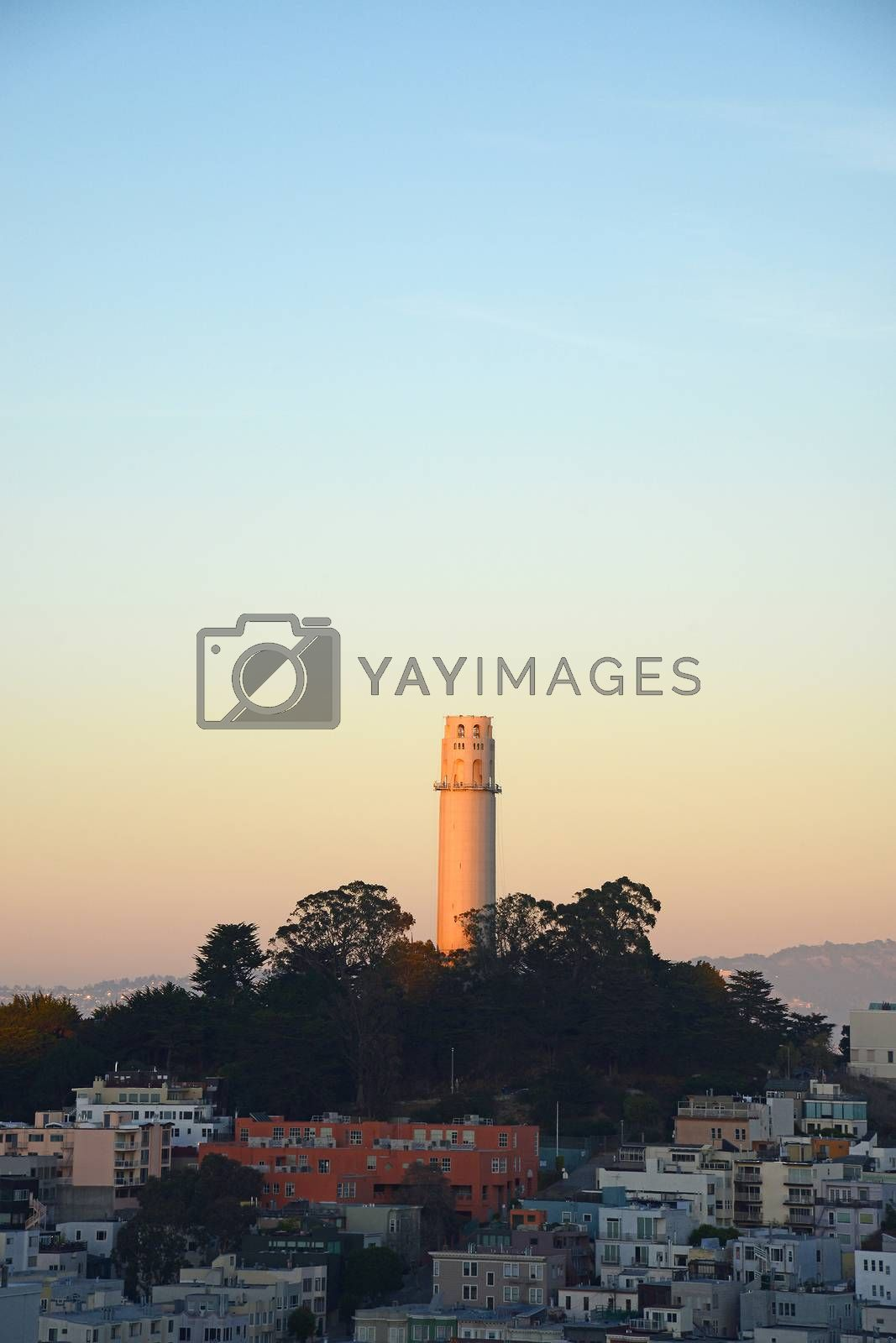Royalty free image of coit tower during sunset by porbital