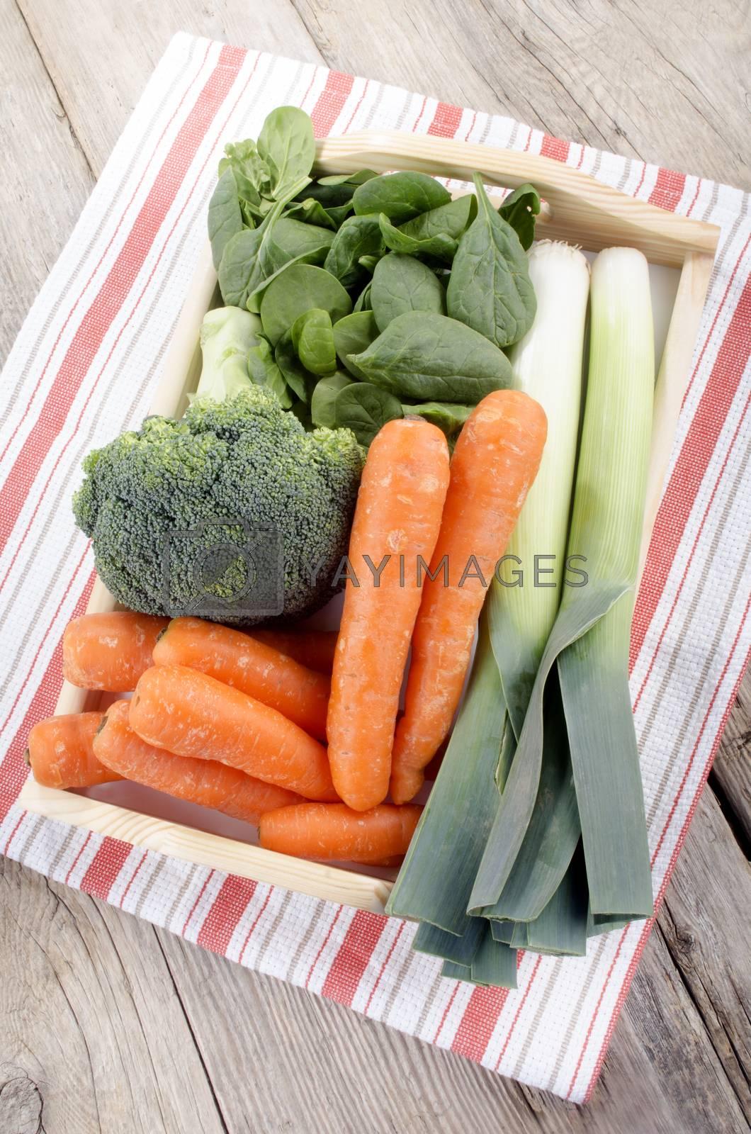 fresh vegetable on a tray by Szakaly