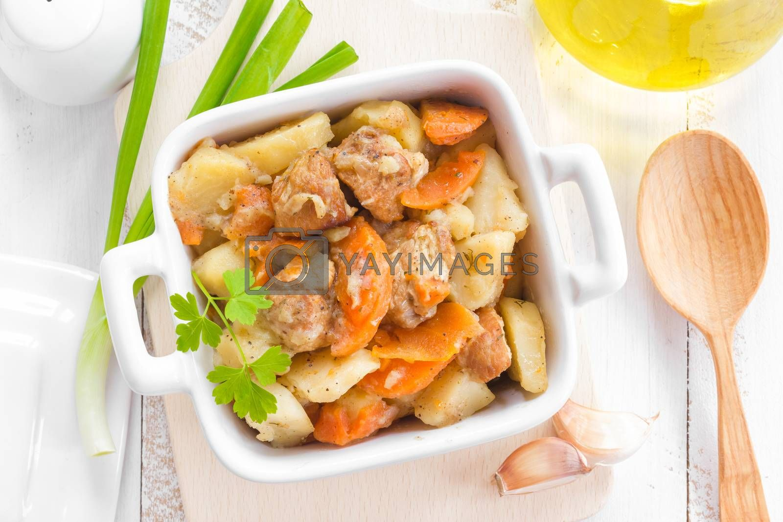 Royalty free image of Meat with vegetables by yelenayemchuk