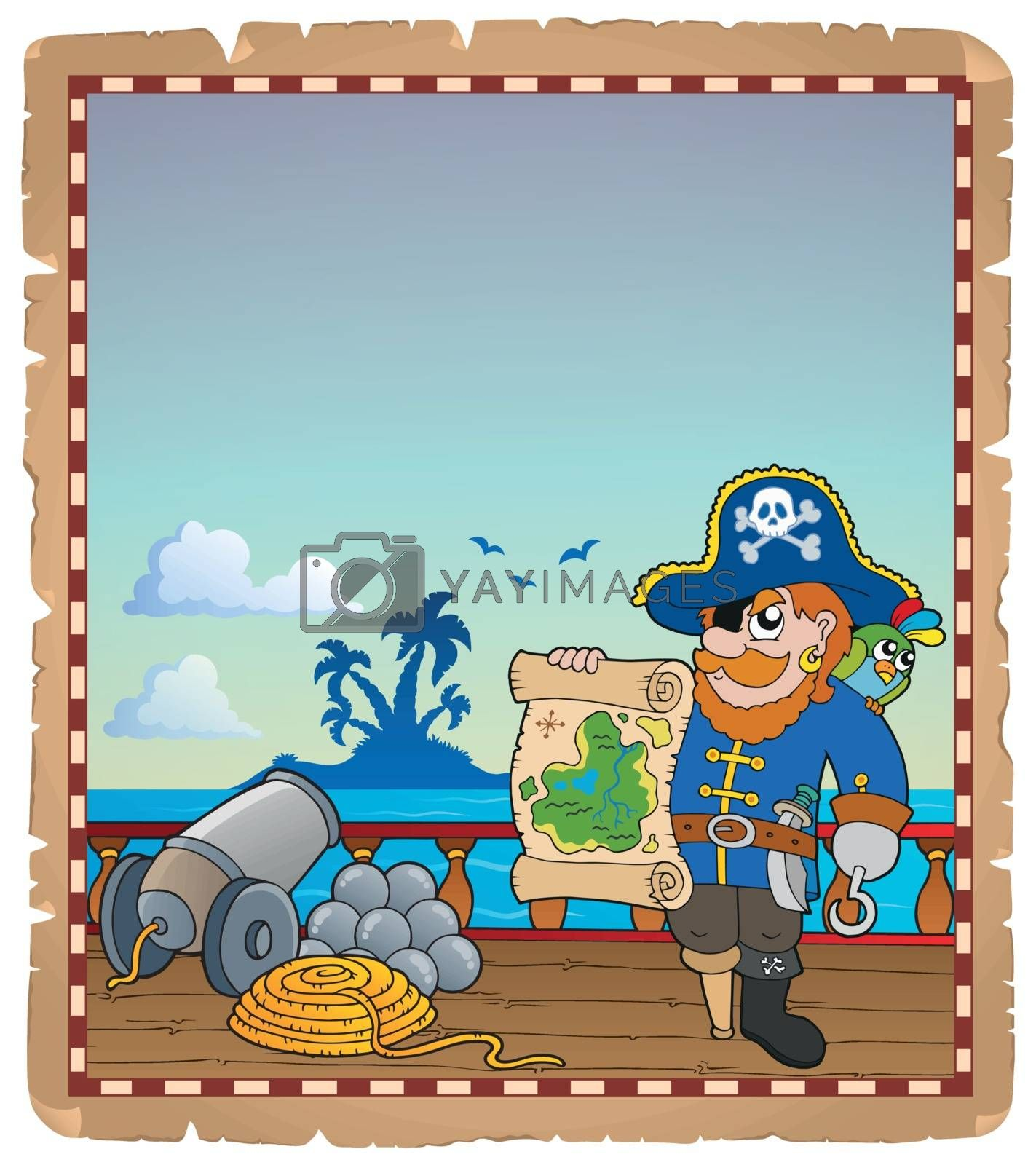 Royalty free image of Parchment with pirate ship deck 3 by clairev