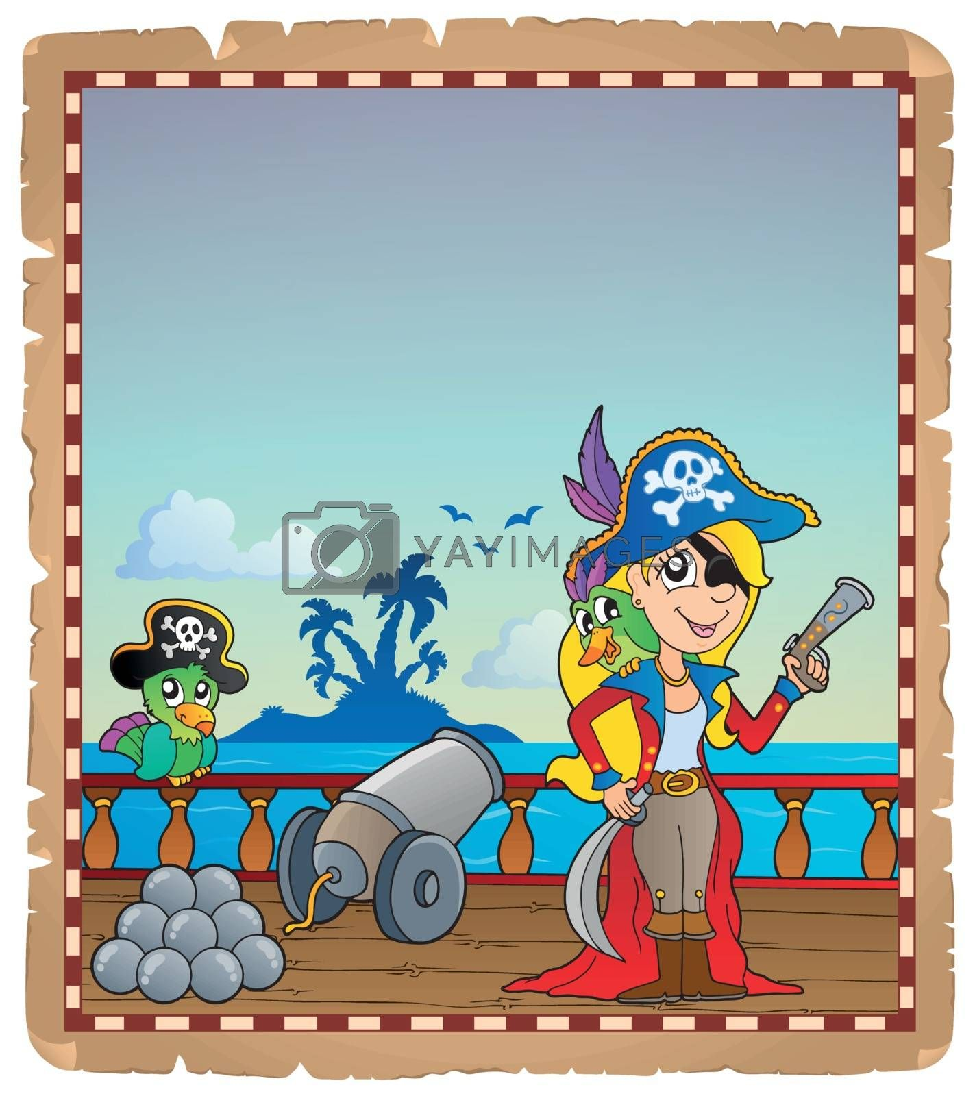 Parchment with pirate ship deck 4 by clairev