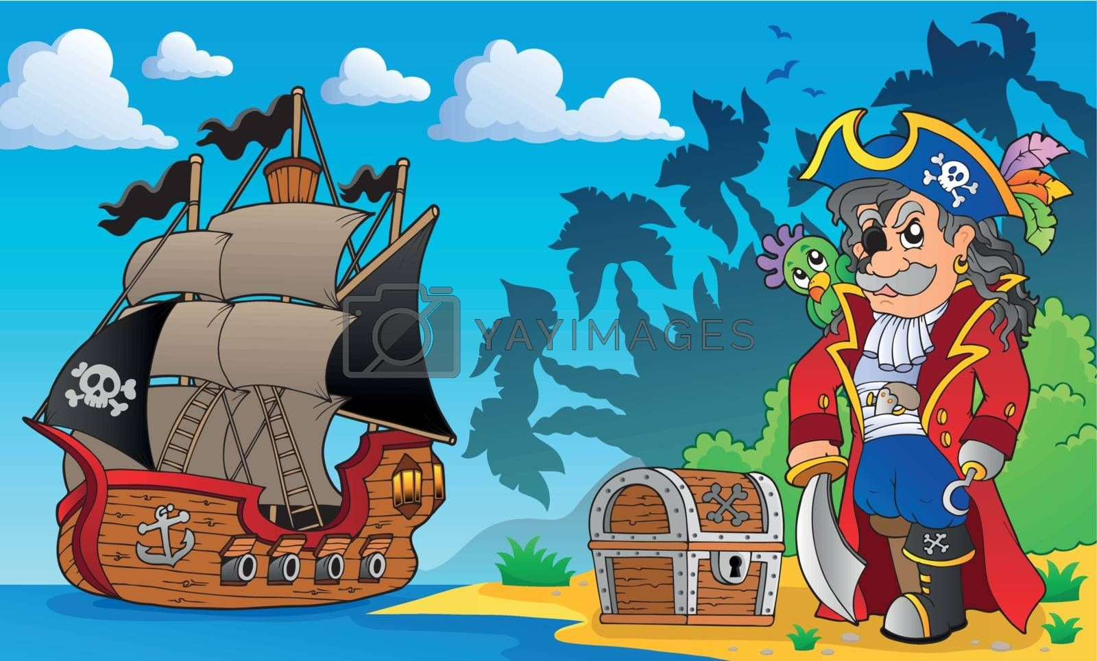 Royalty free image of Pirate on coast theme 3 by clairev