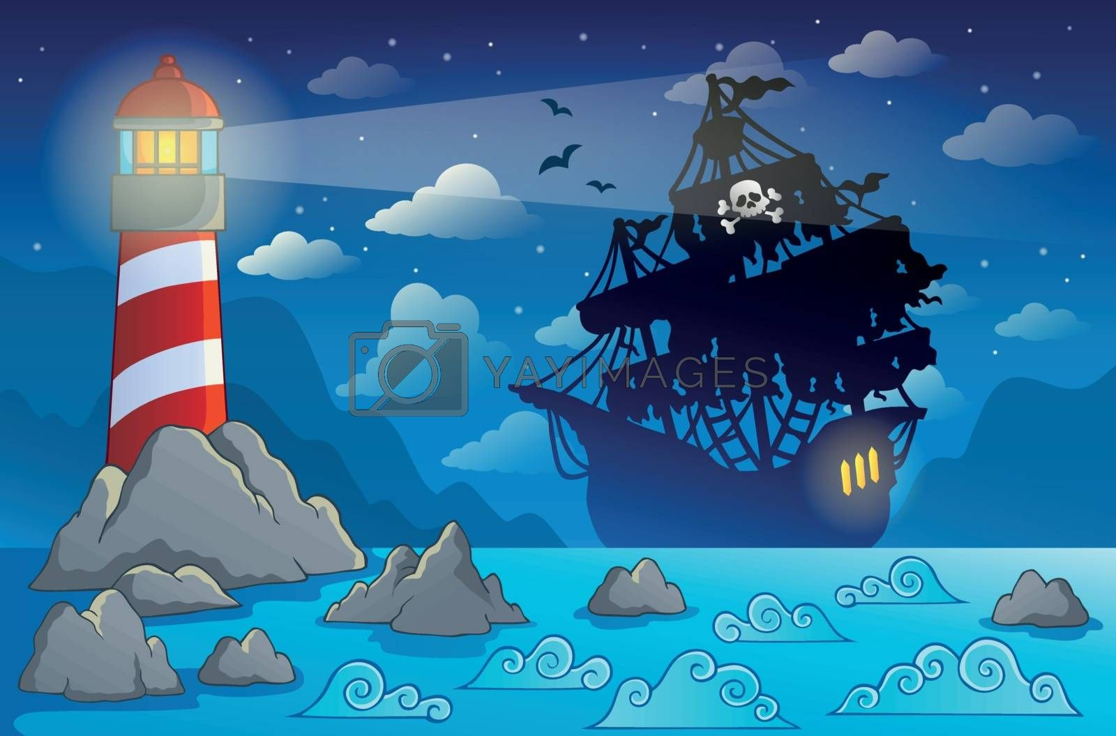 Royalty free image of Pirate ship silhouette near coast 1 by clairev