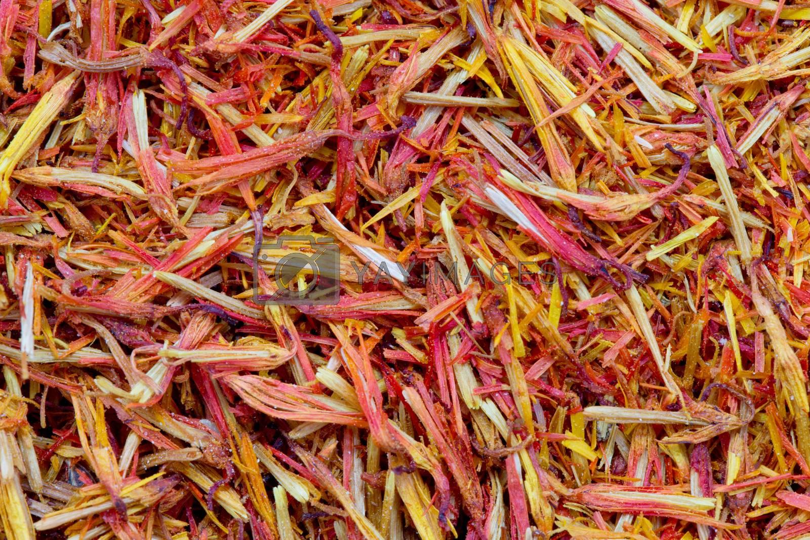 Dried saffron as food background