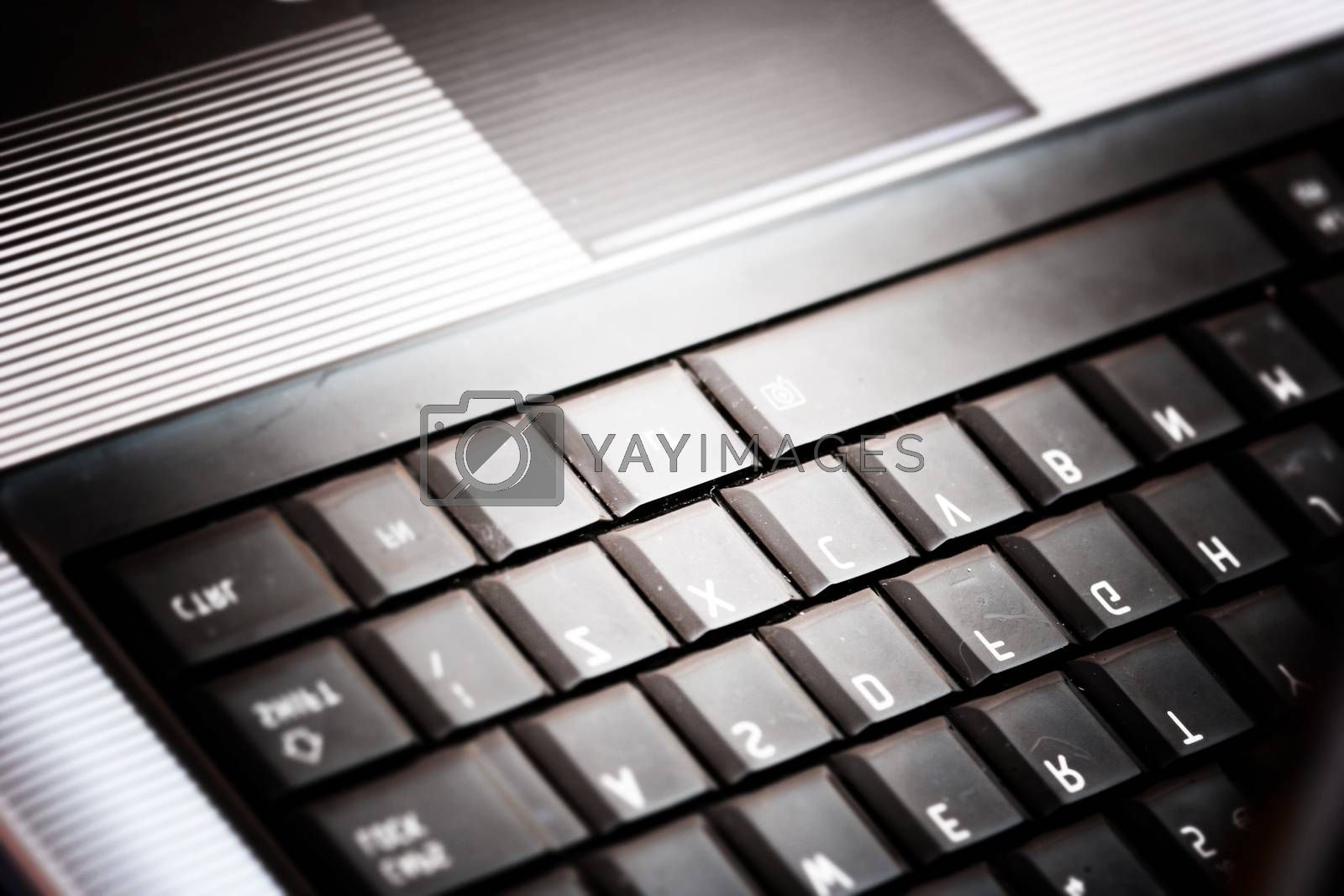Closeup of modern and stylish laptop.