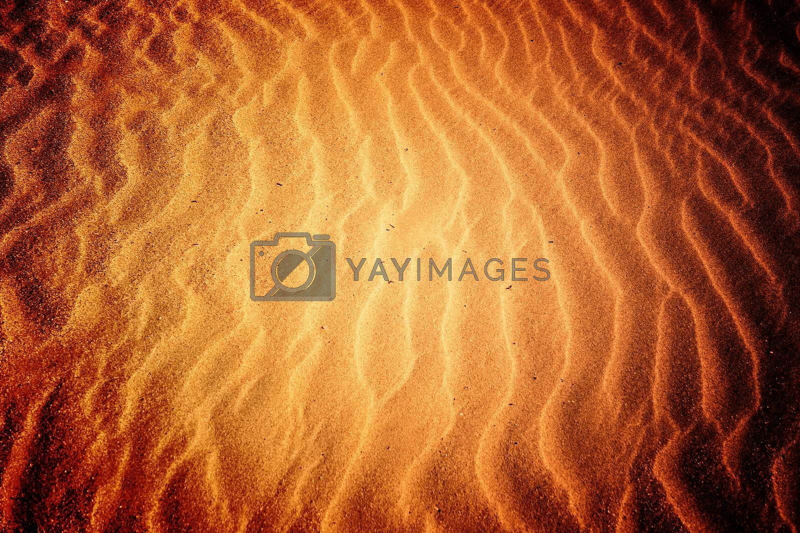 Beach with soft sand, rippled texture of windblown effect