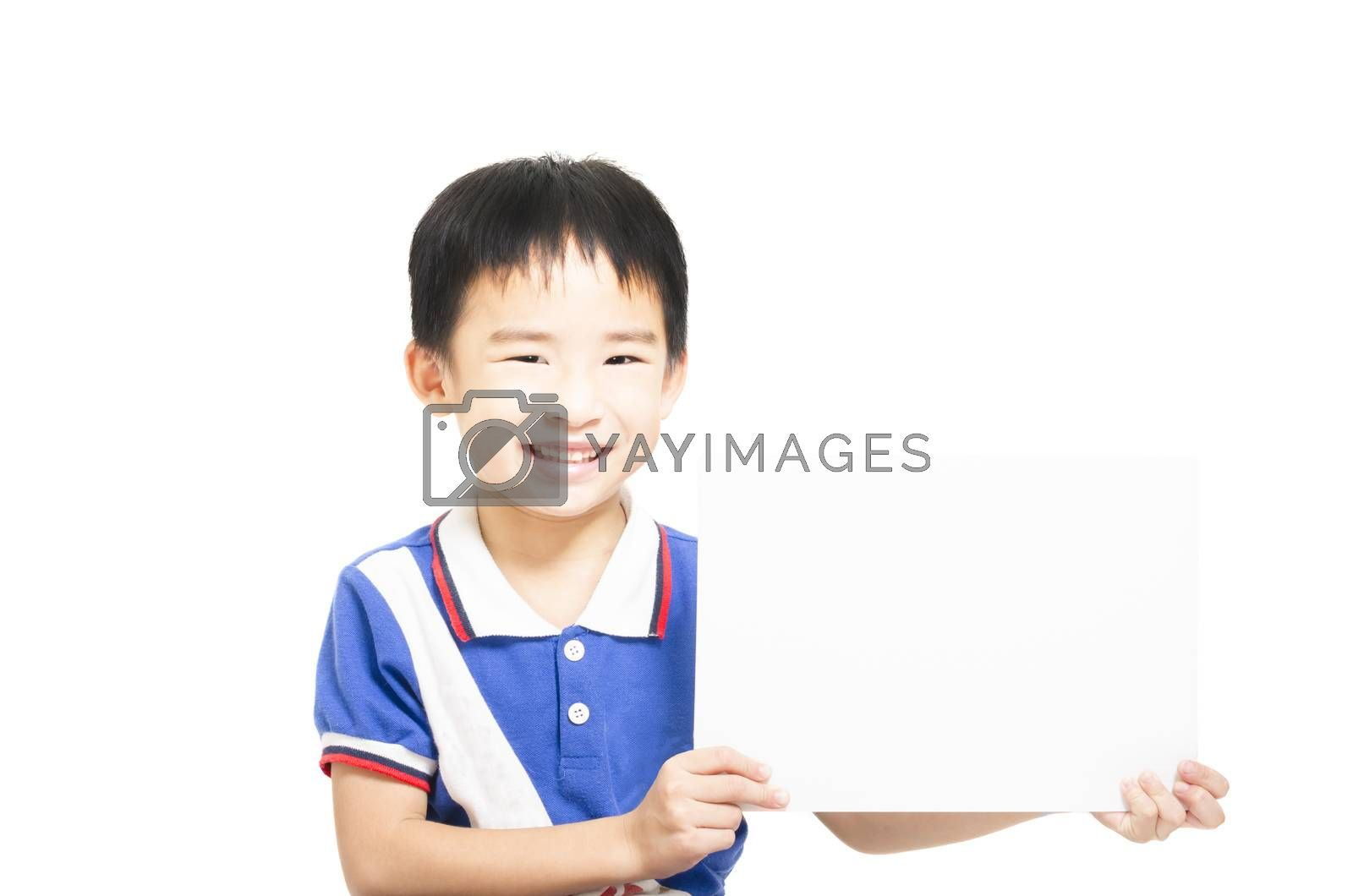 Royalty free image of Smart child holding white paper by FrankyLiu