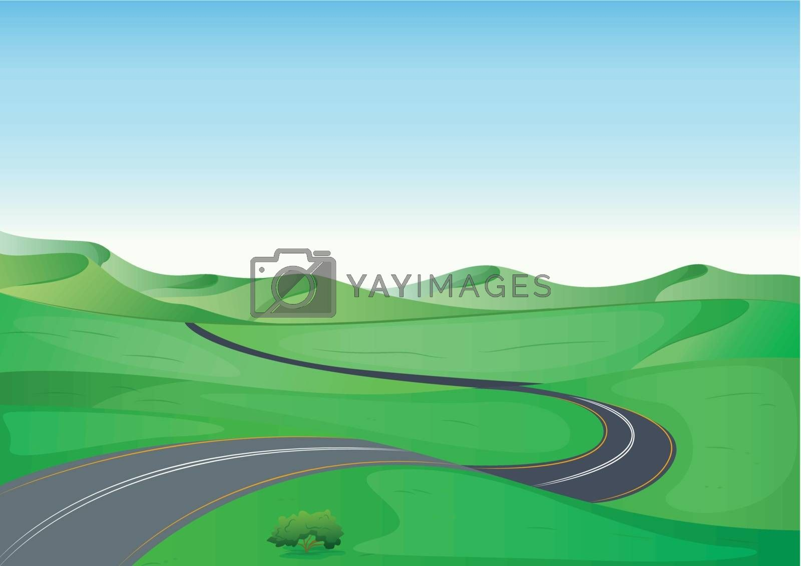 a green landscape and a road by iimages