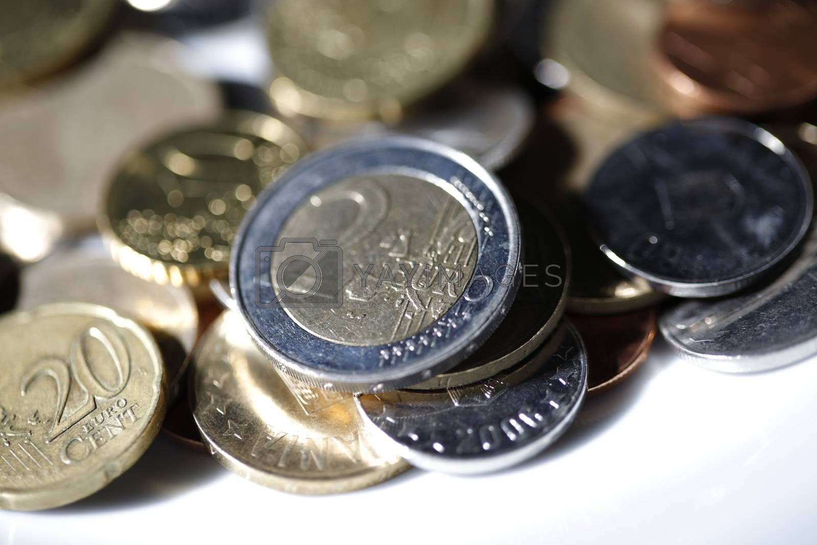 Close up photo of many euro coins