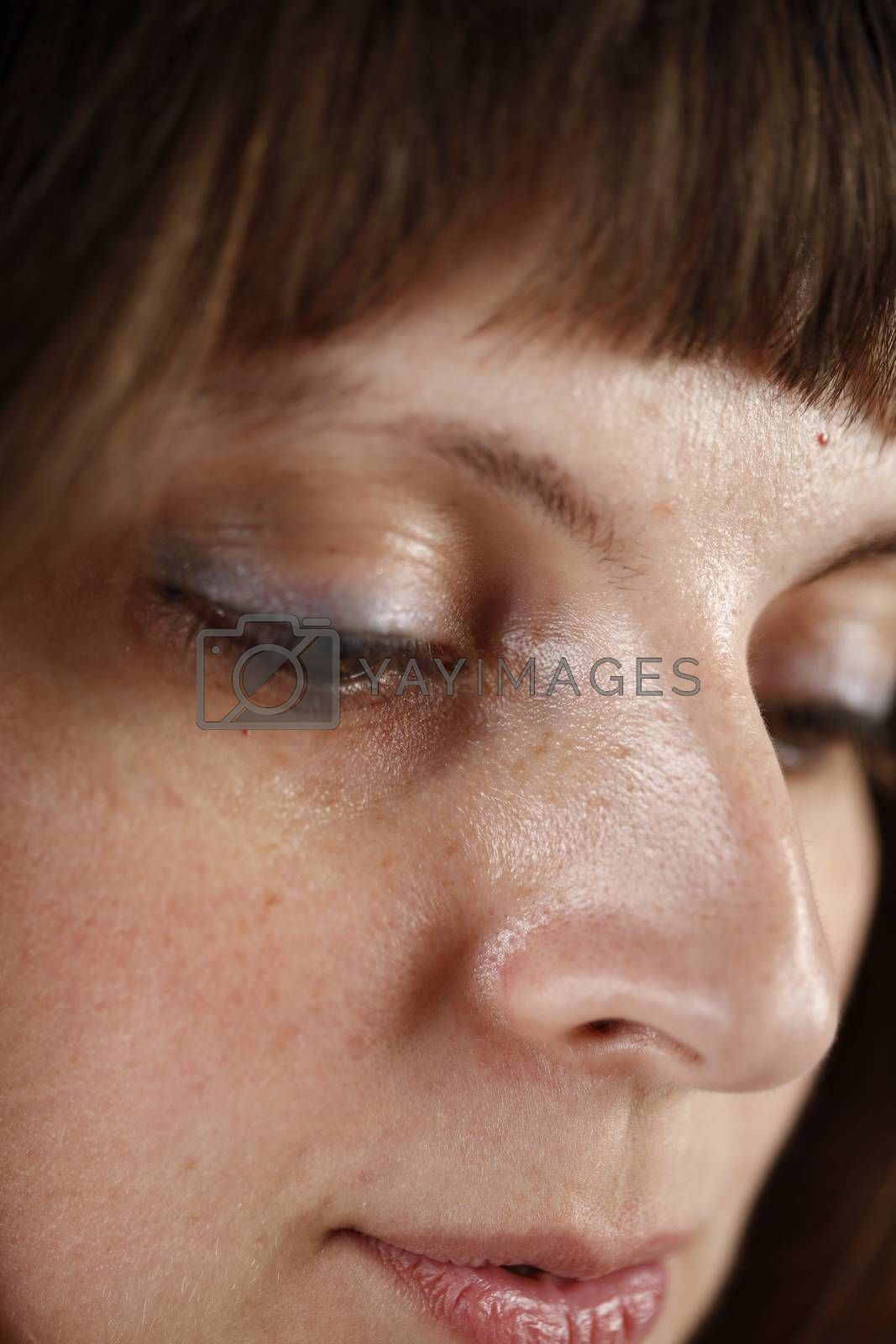 Close up portrait of a young caucasian woman