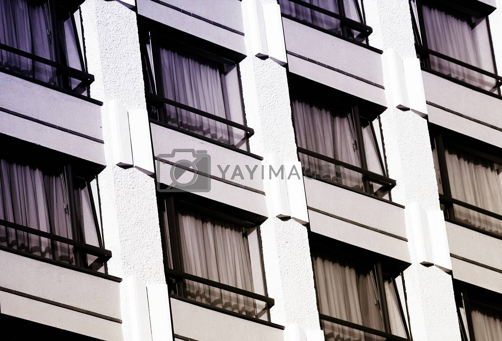 Close-up picture of an hotel: room windows