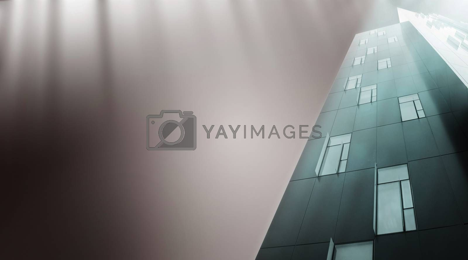Modern skyscrapers isolated on grey.
