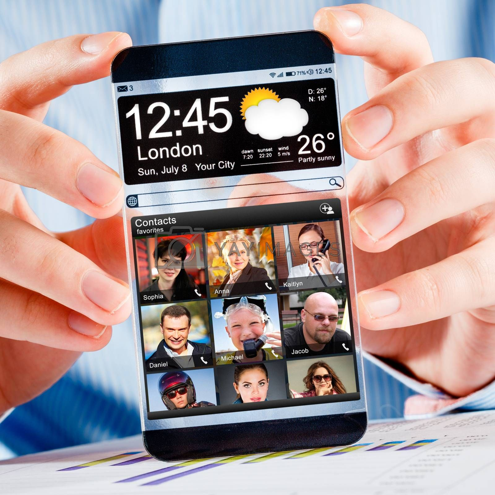 Smartphone with transparent screen in human hands. by cookelma
