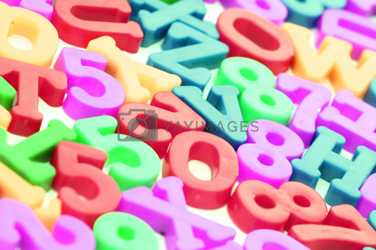 Close-up of letters. Great colours and details.