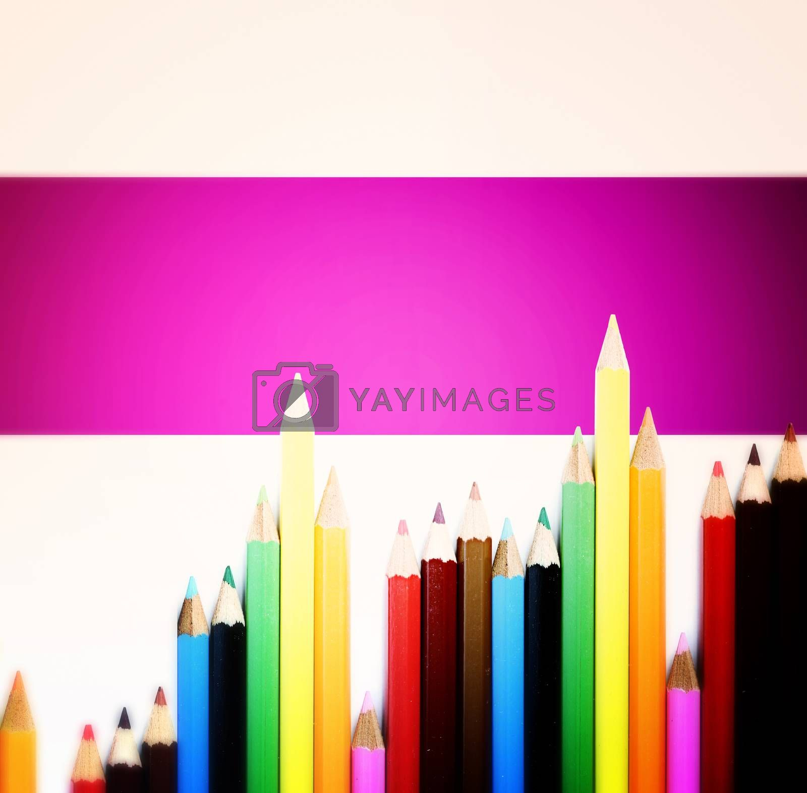 Close-up picture of color pencils assortment.