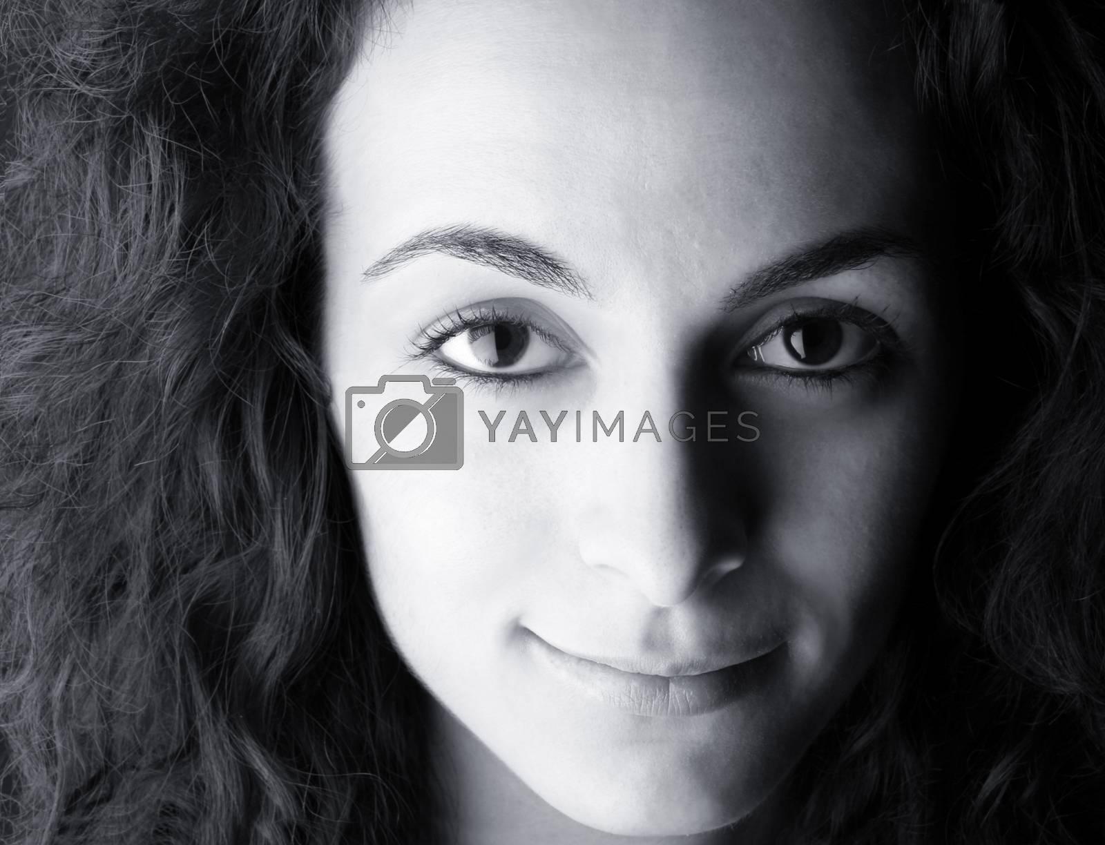 Close-up of a beautiful woman face.