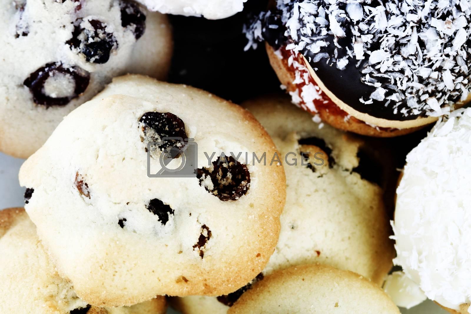 Macro picture of sweet cookies.