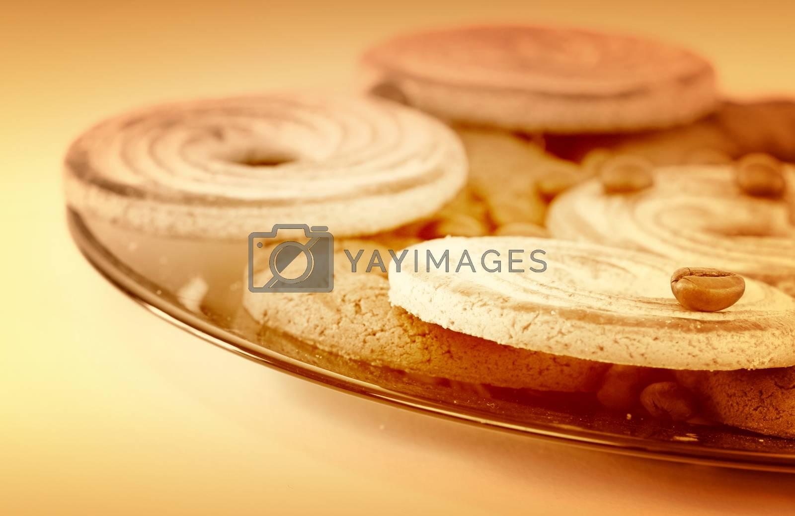 Sweet cookies with coffee grains.