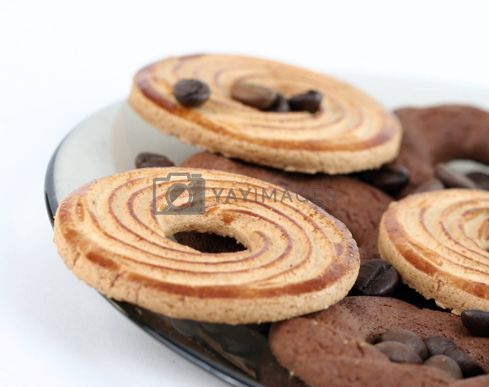Sweet cookies with coffee grains.