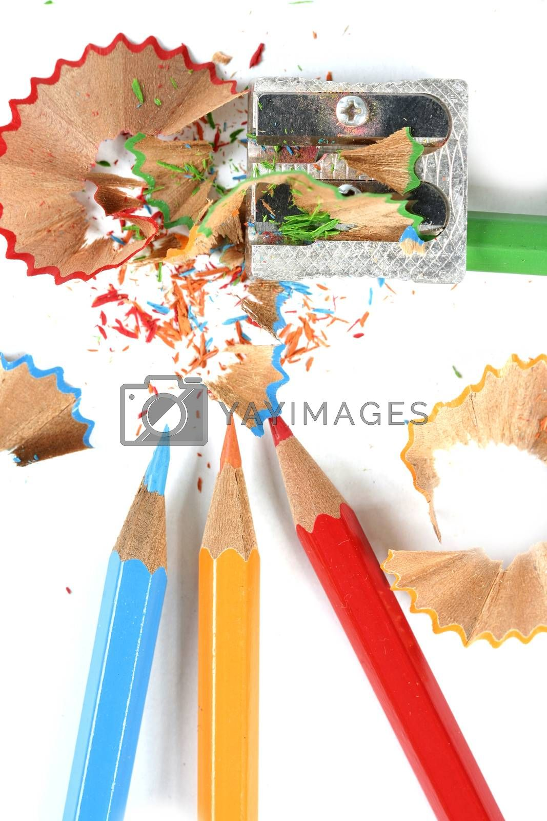 Close-up of pencils and sharpener.