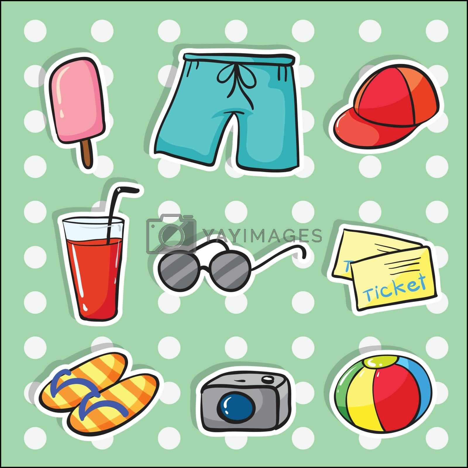 illustration of various objects blue checkered background