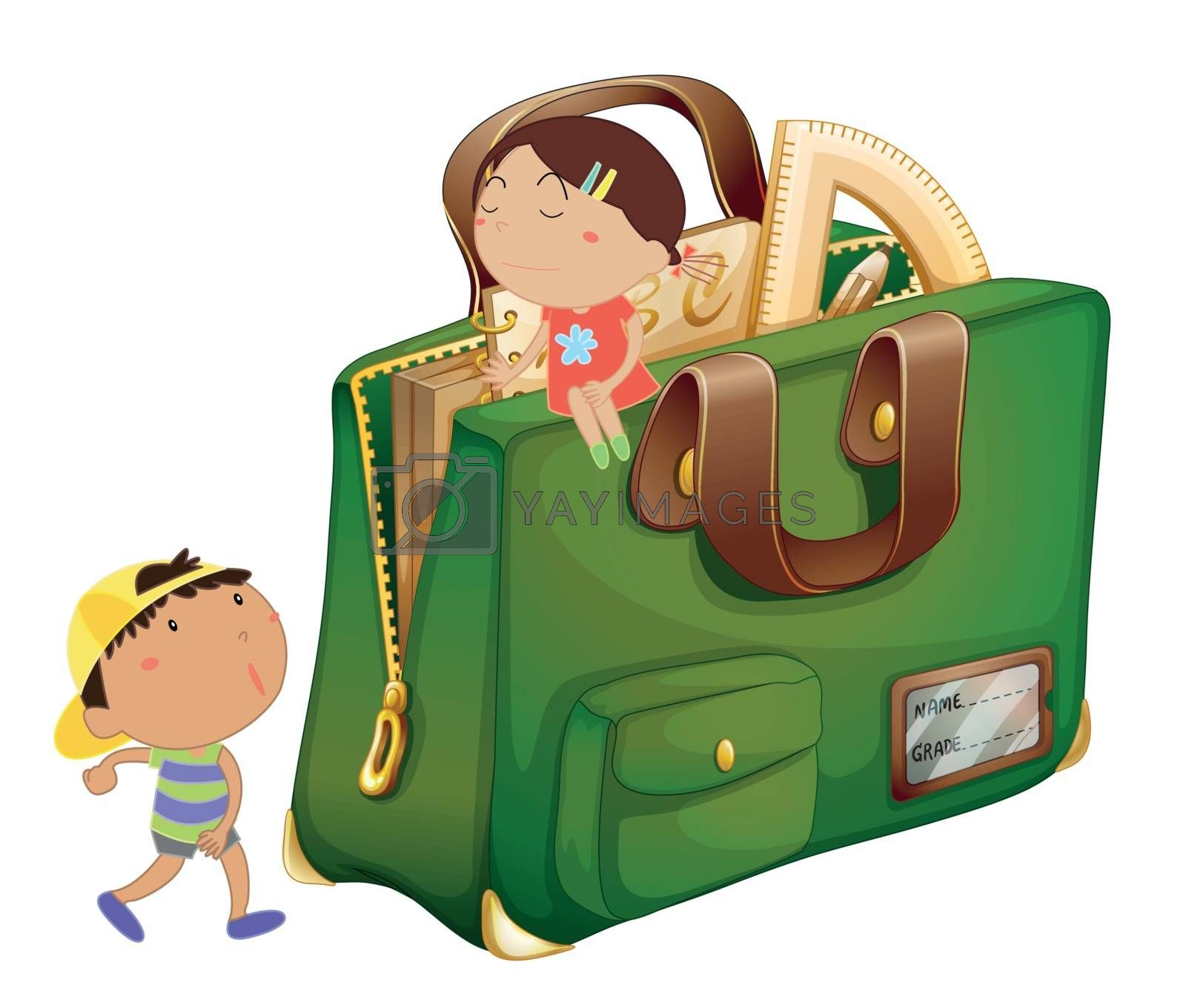 Illustration of kids around a schoolbag