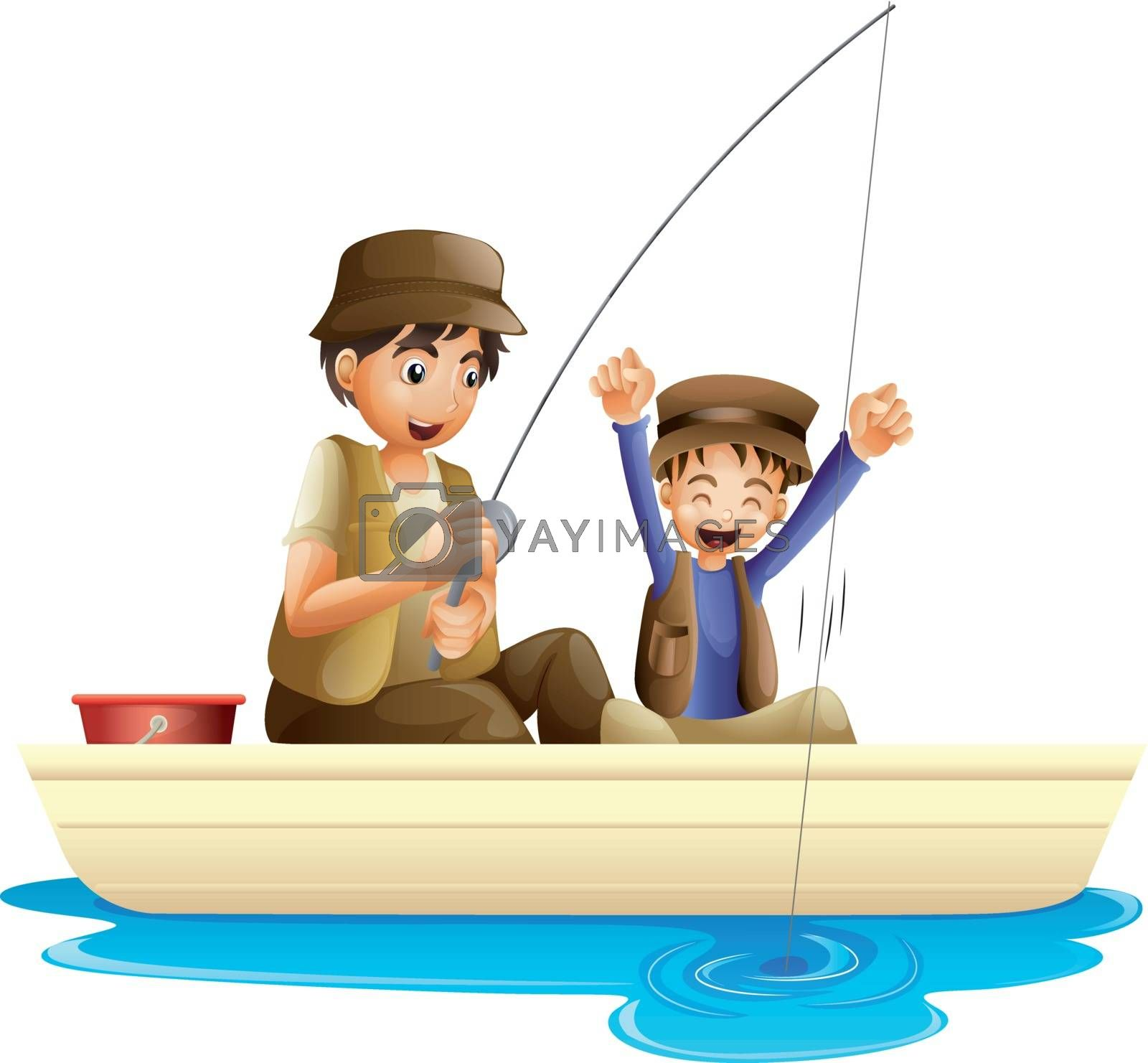 illustration of father and son fishing on a white background