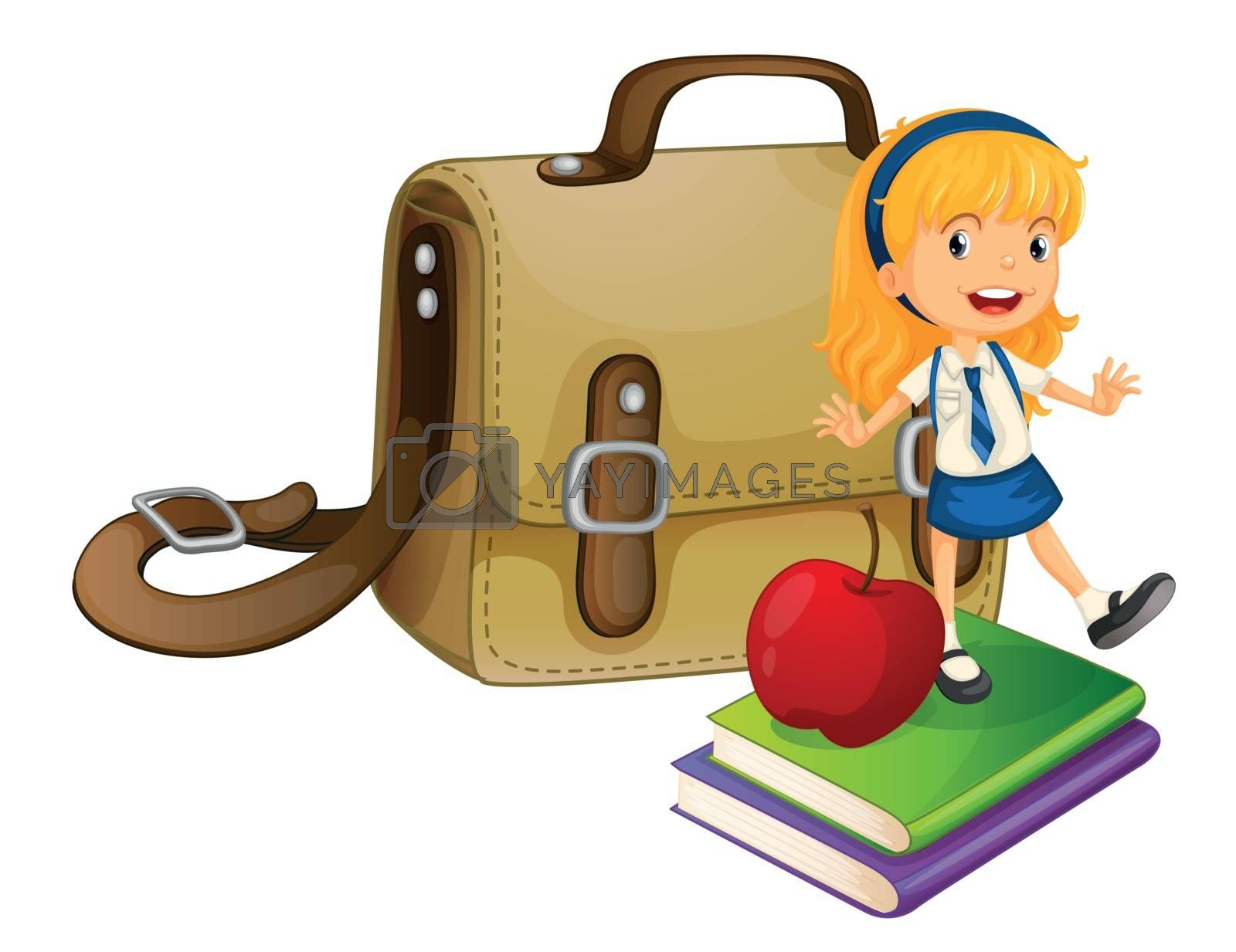 Illustration of a girl and a schoolbag