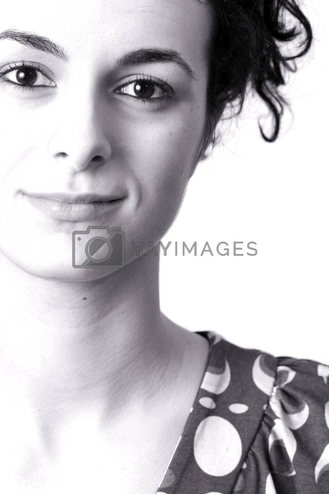 Close-up portrait of a beautiful smiling woman. Isolated