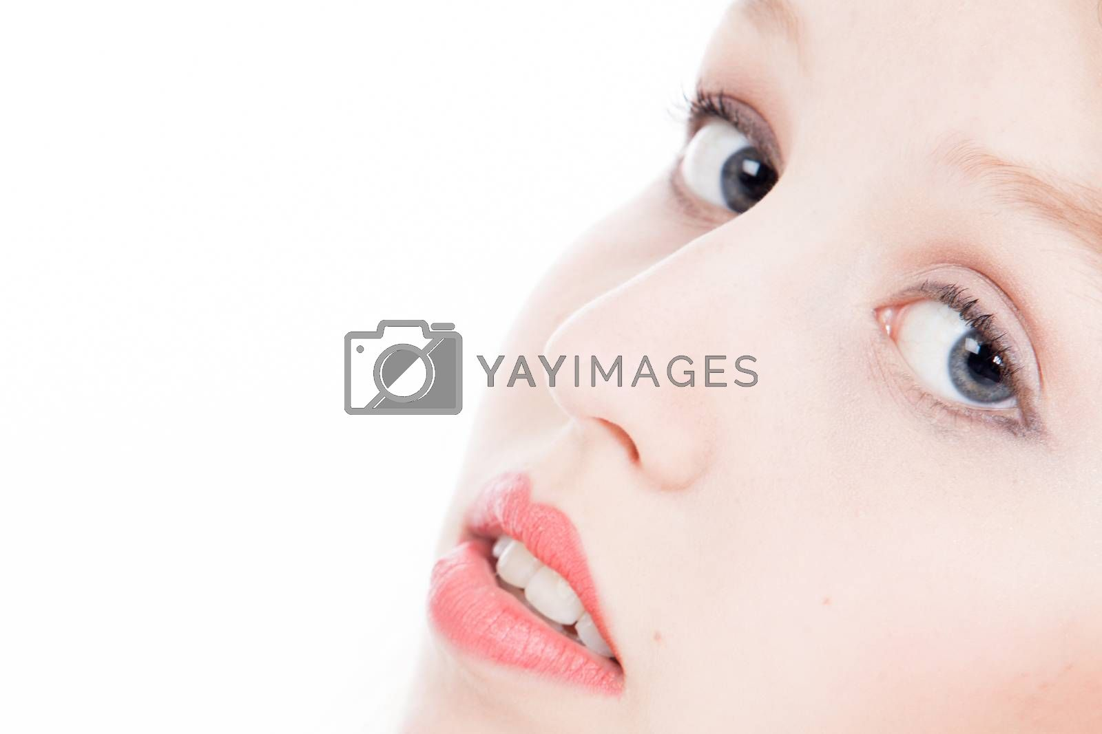 Closeup portrait from young blond woman on a white background