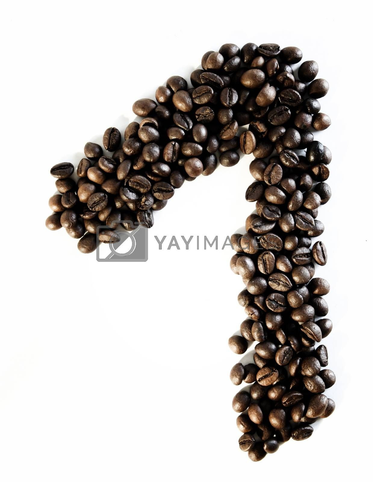 Numbers made from coffee beans