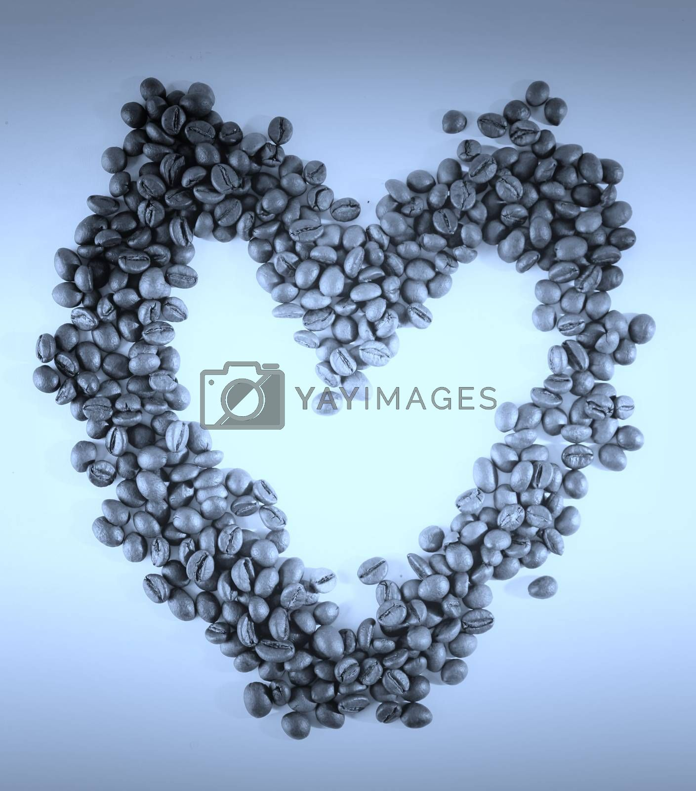 Heart made from coffee beans