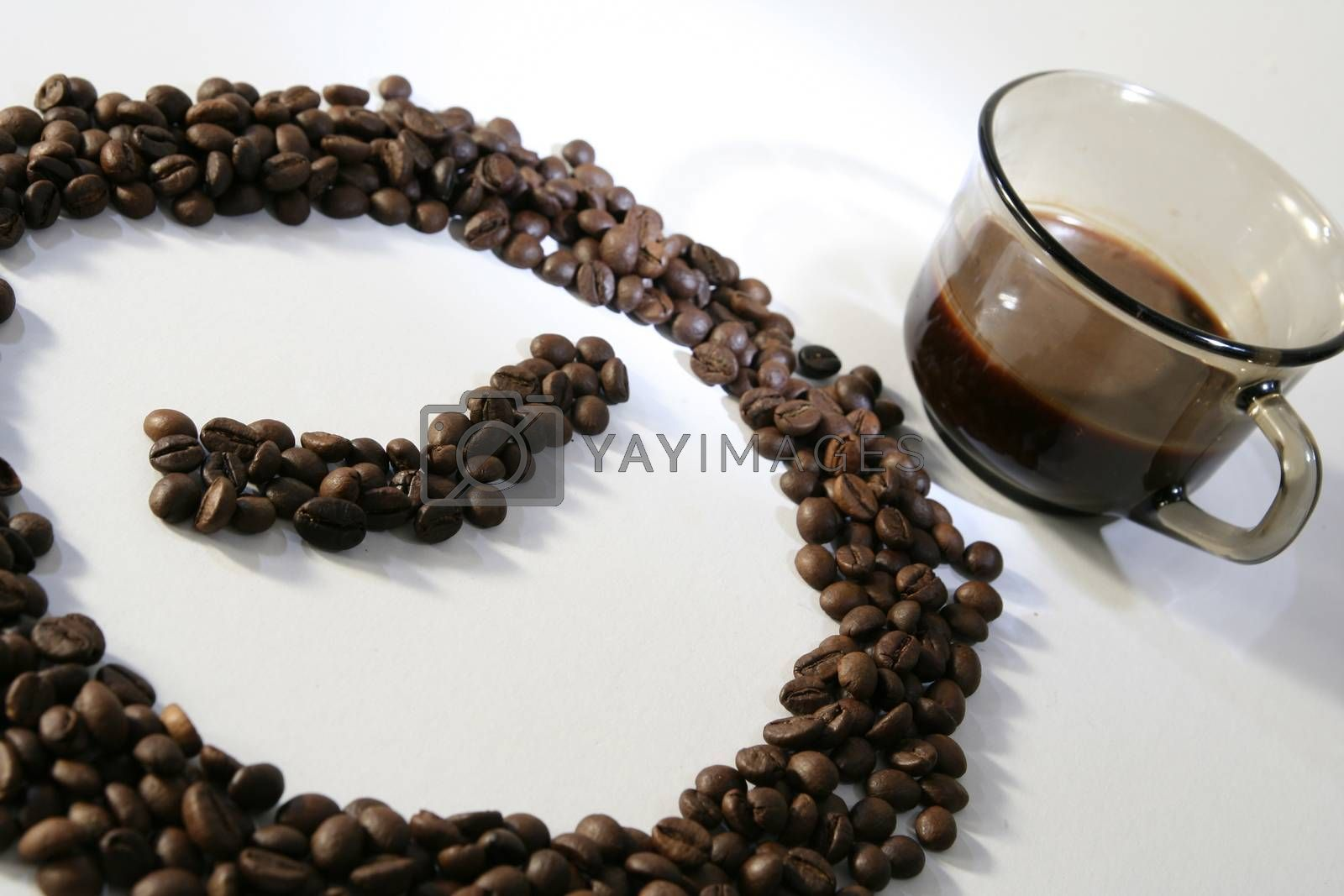Claock made from coffee beans