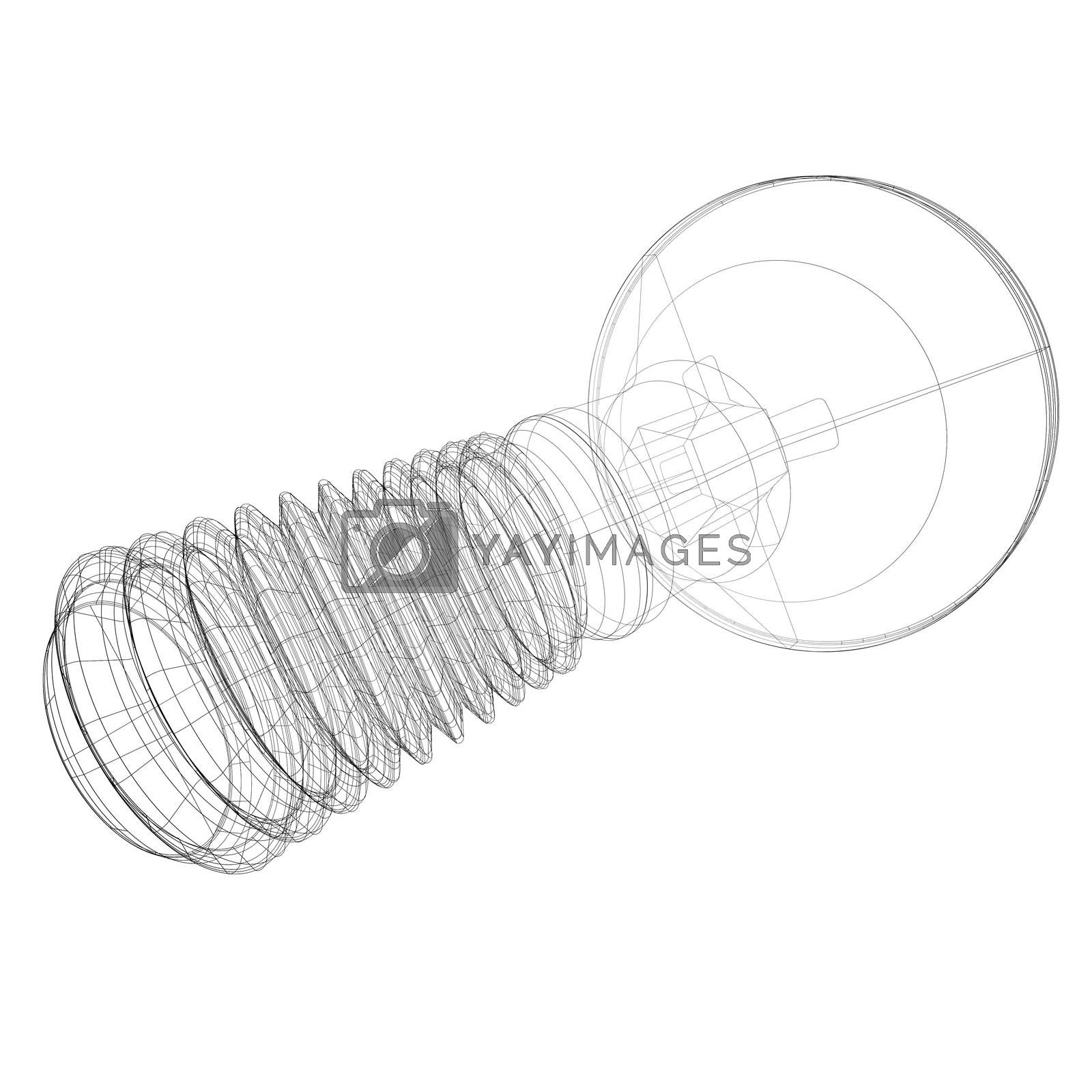 Royalty free image of Wire-frame screw by cherezoff