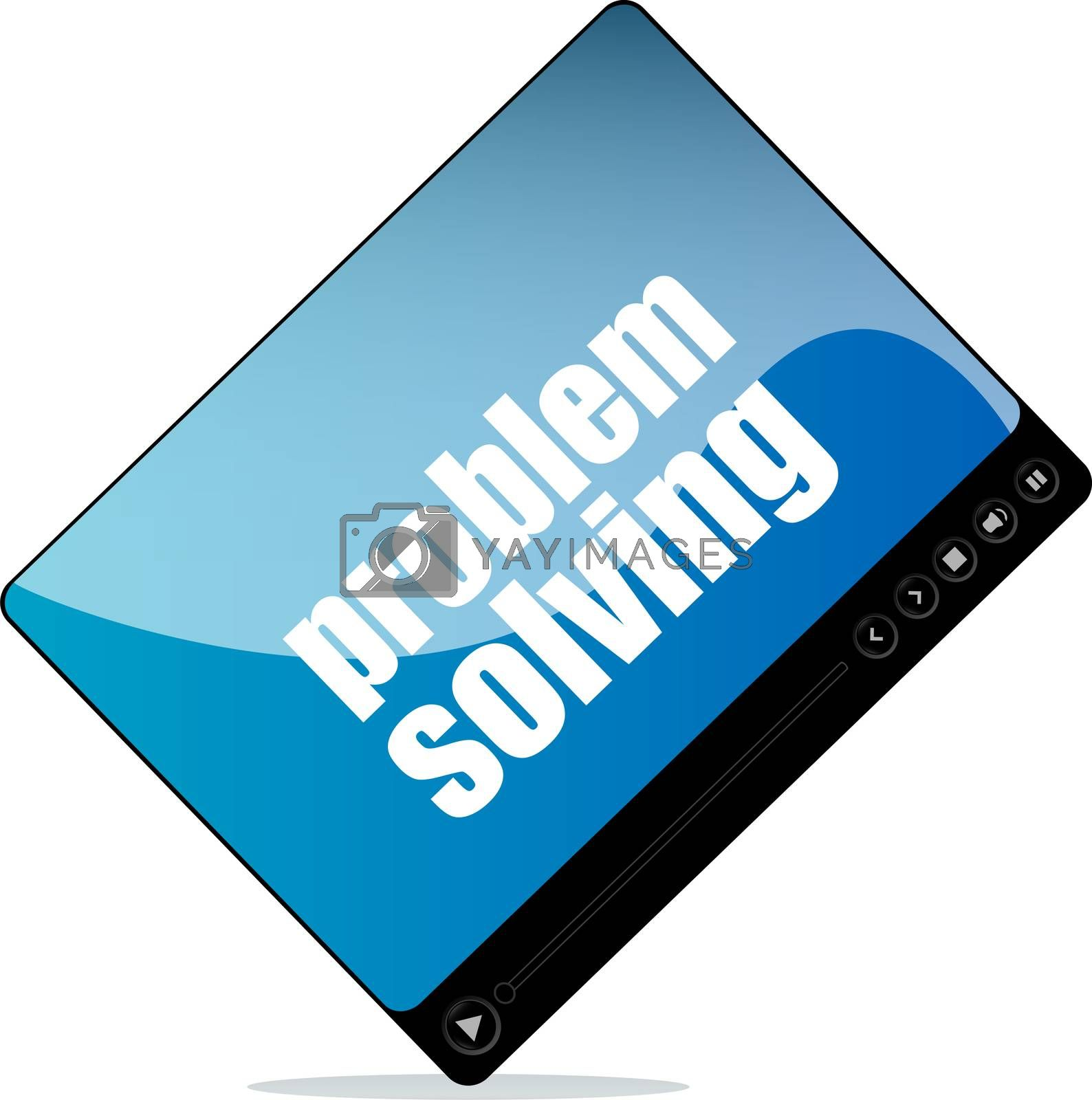 Royalty free image of Video media player for web with problem solving words by fotoscool