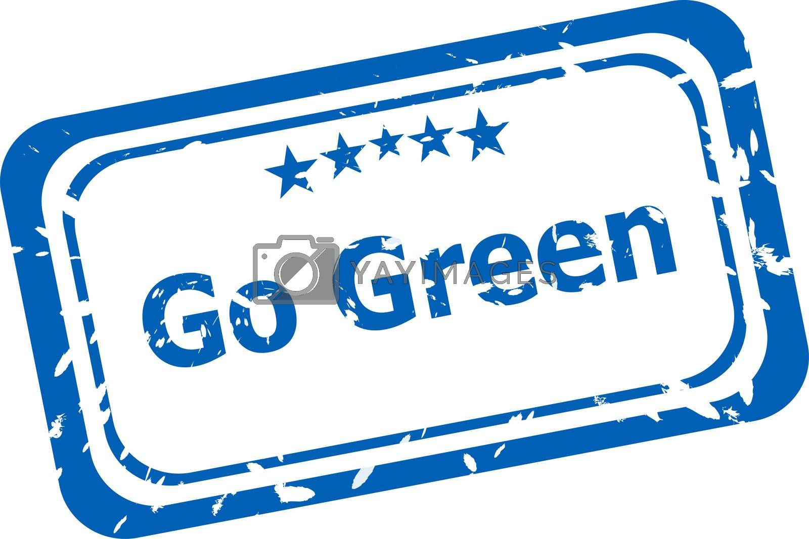go green grunge rubber stamp isolated on white