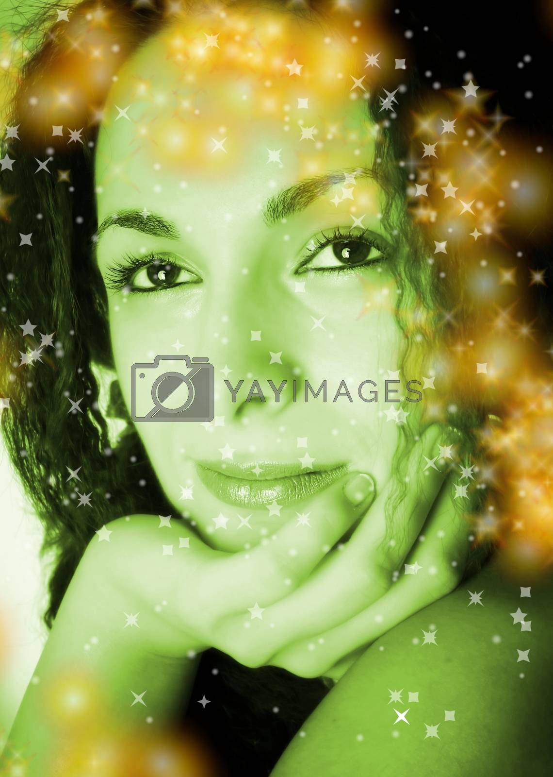 Macro image of a beautiful girl face