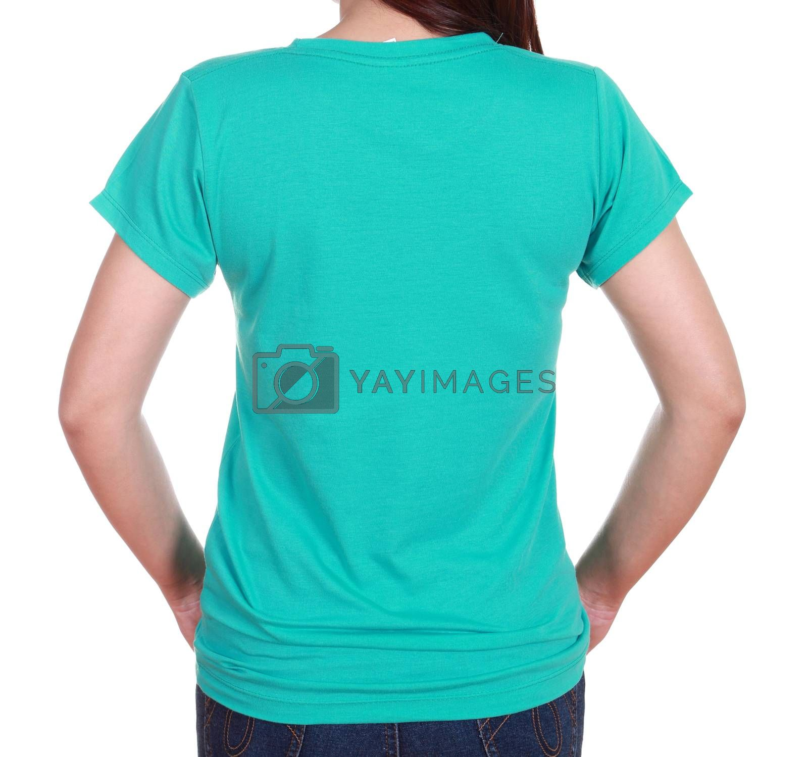 Royalty free image of close-up female with blank t-shirt (back side) by geargodz