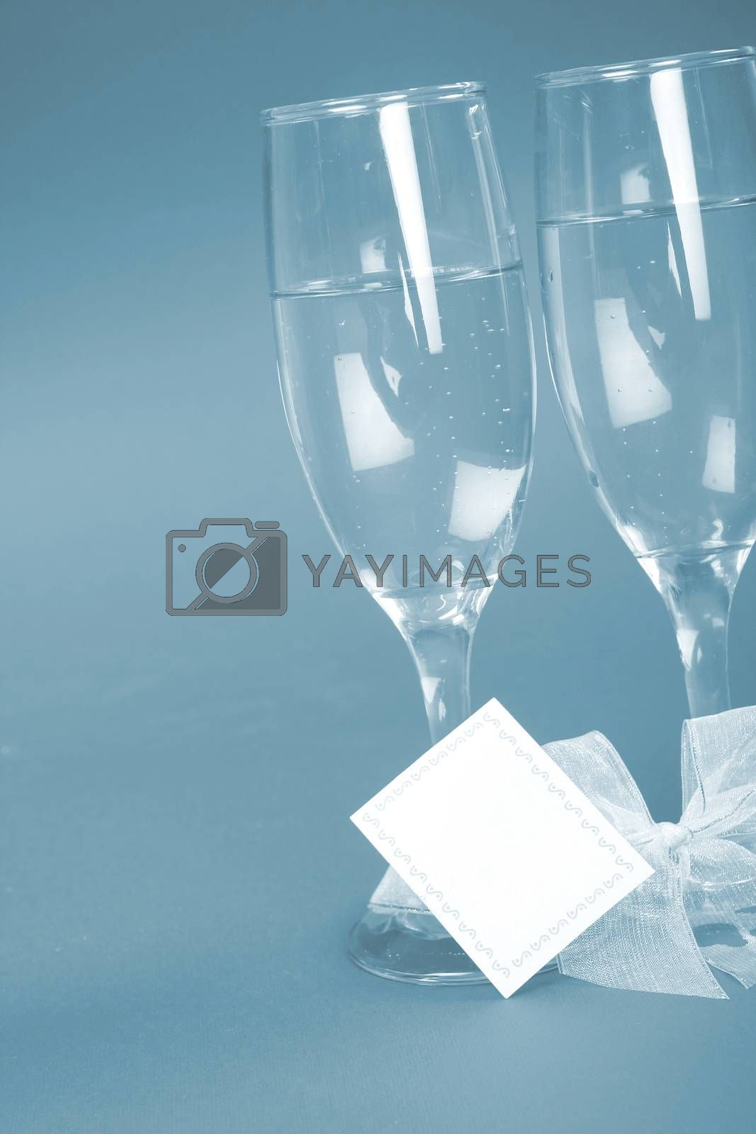 New year party with champagne glasses. Coppy space