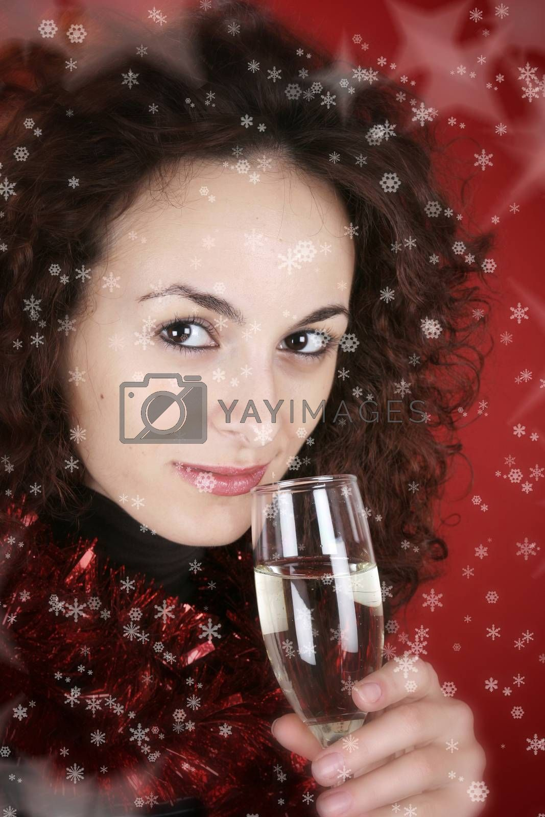 Woman drinking champagne . Happy new year!