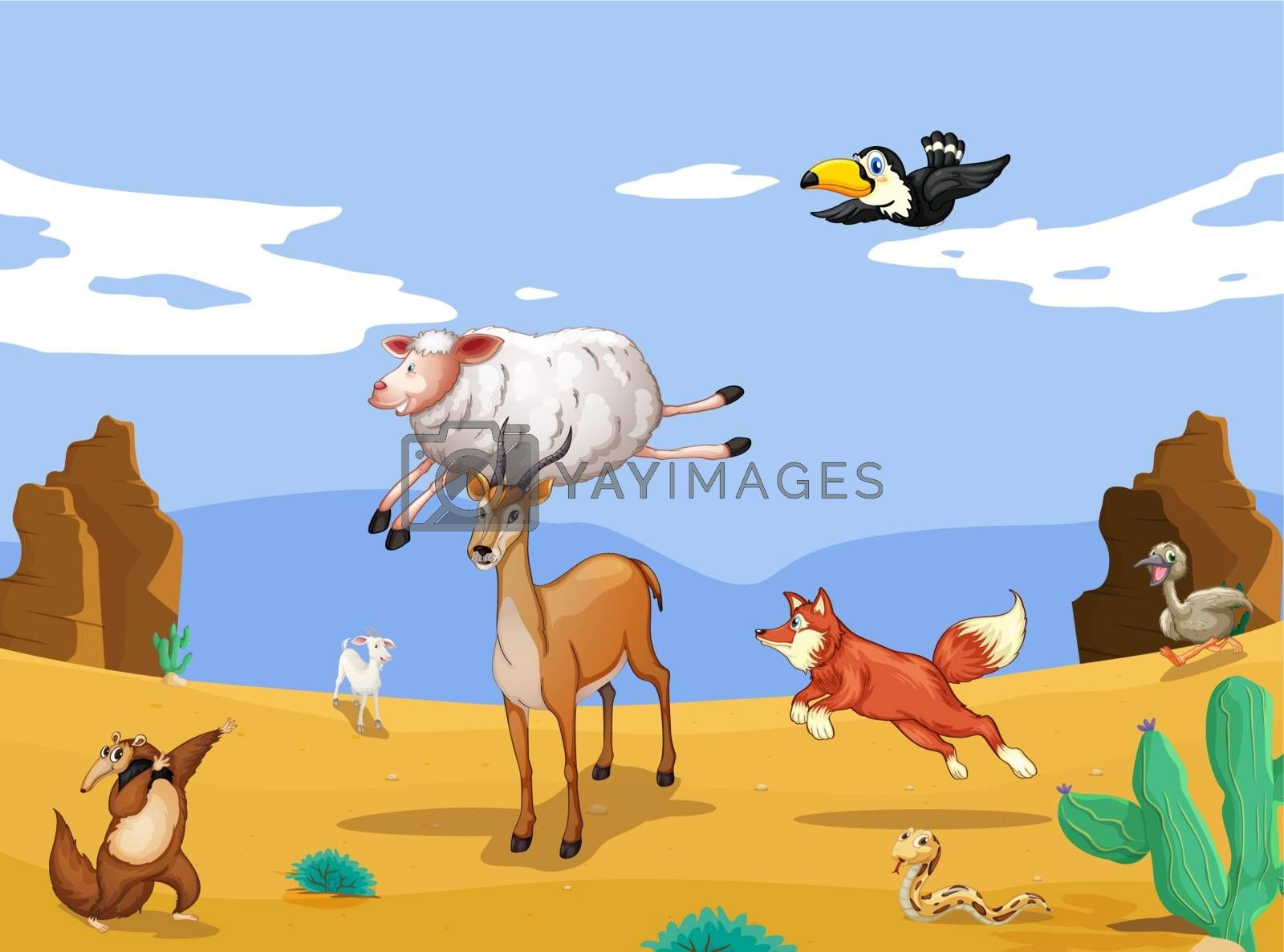 illustration of various animals in beautiful nature