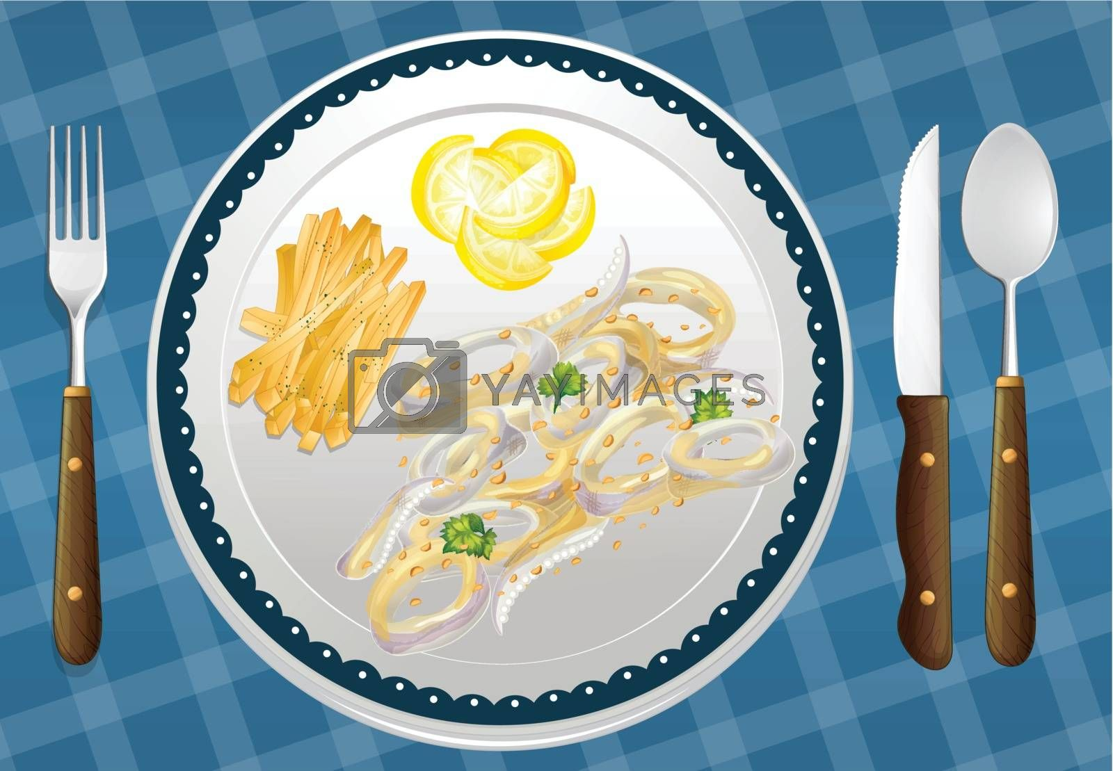 illustration of a food and a dish on a blue placemat