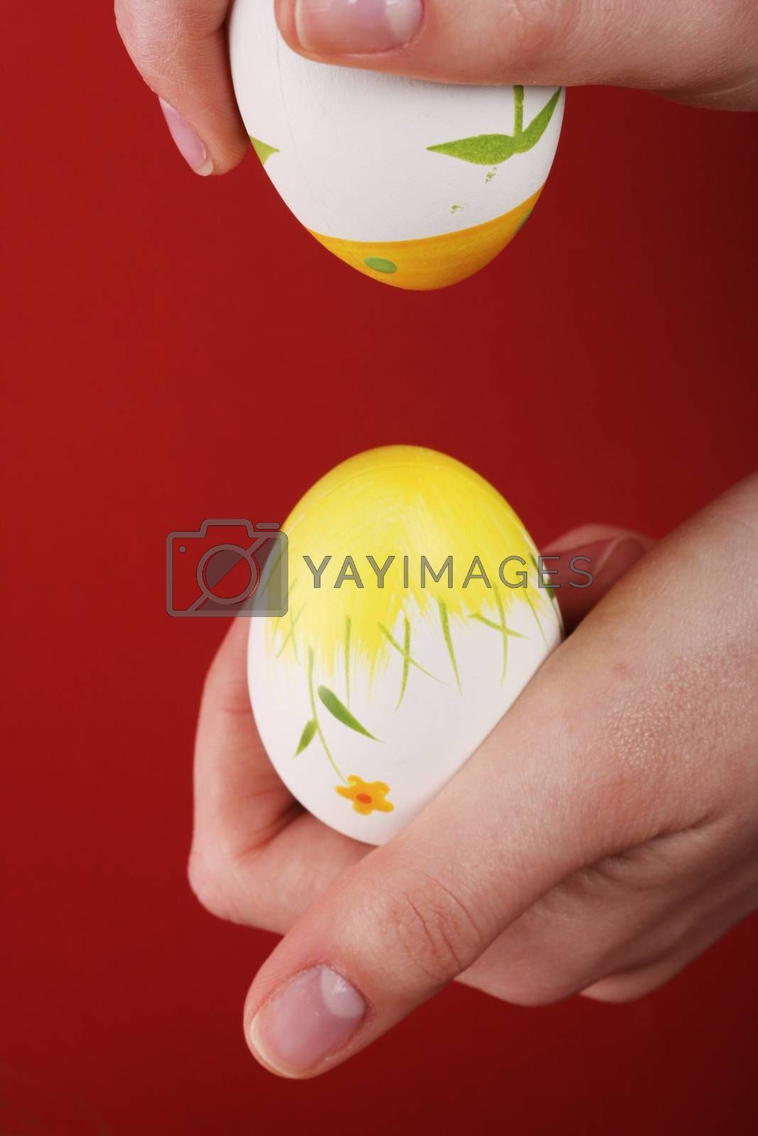 Bumping painted eggs in easter day