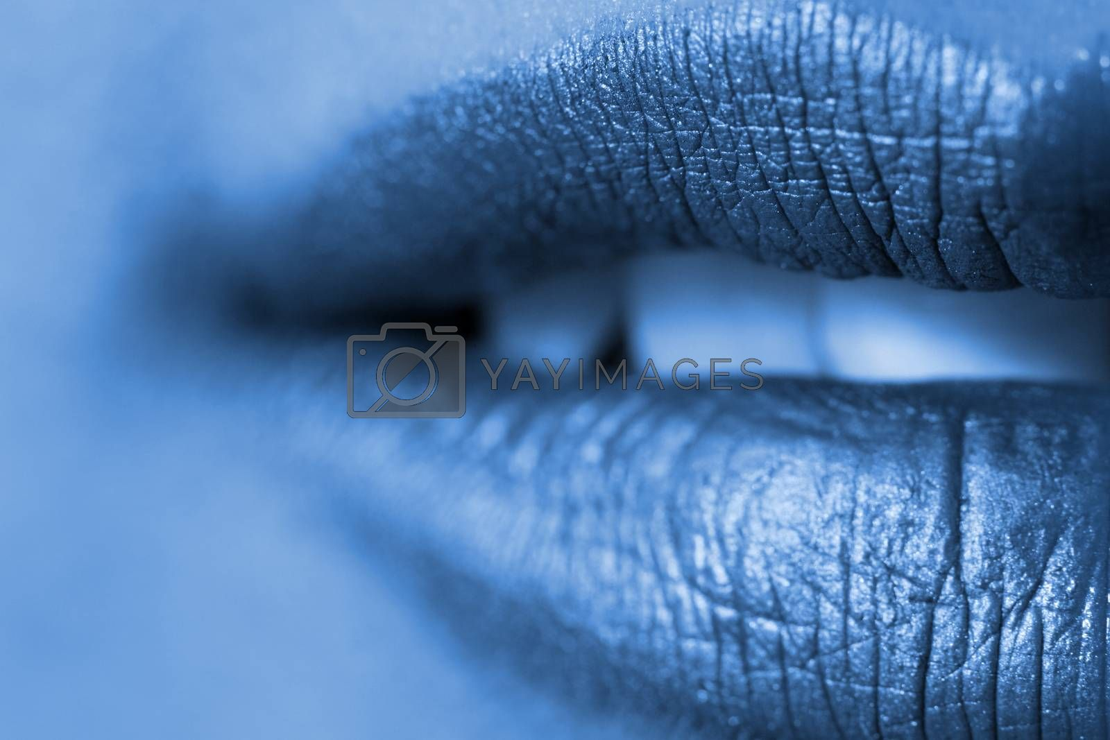 Macro blur image of bright lips -gold lipstik
