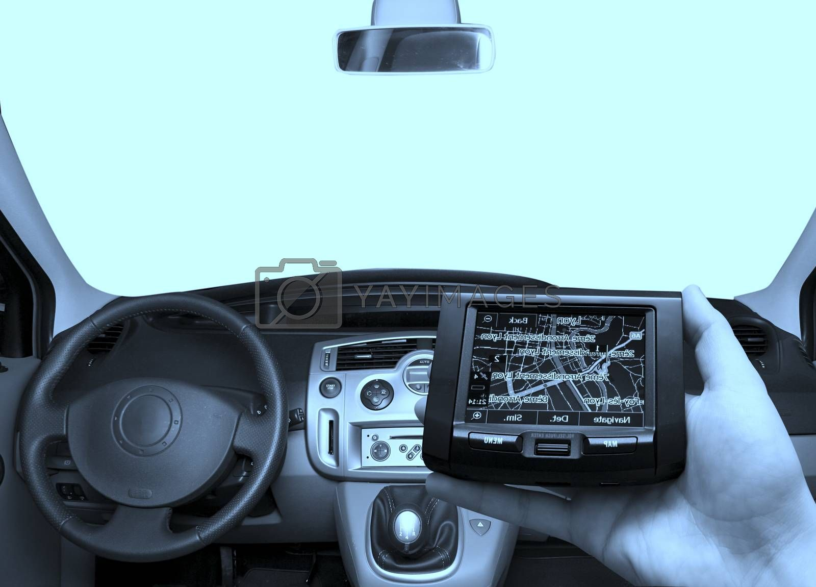 GPS in a man hand by arosoft