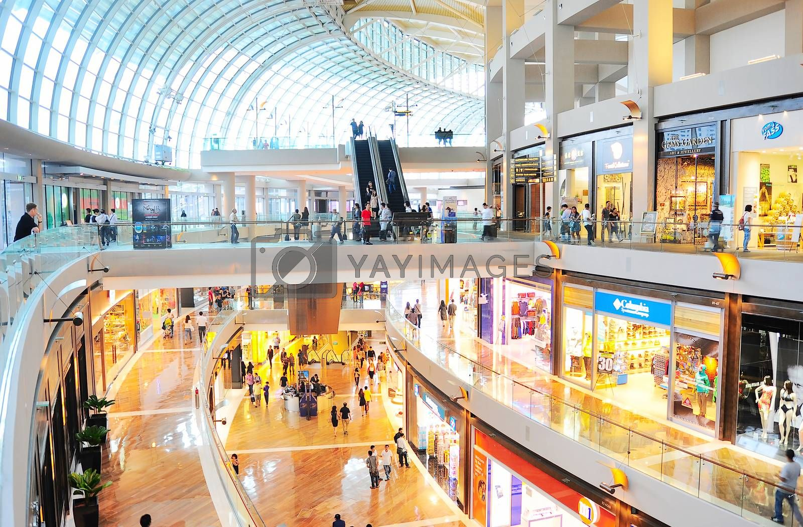 SINGAPORE - MARCH 08, 2013: Shopping mall at Marina Bay Sands Resort in Singapore. It is billed as the world's most expensive standalone casino property at S$8 billion